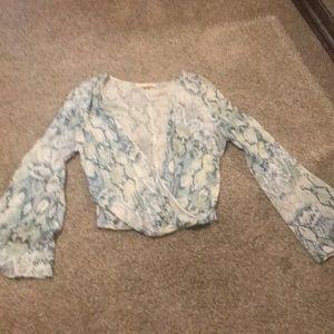 Printed flowey long sleeve top